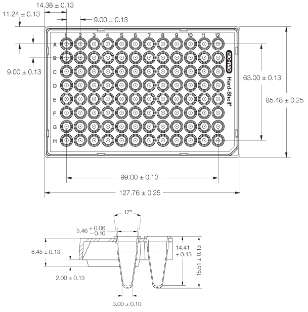 Hard-Shell 96-Well 480 PCR Plate Dimensions