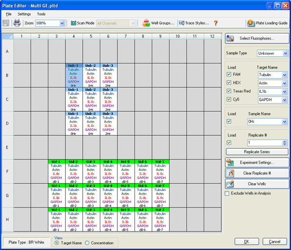 CFX96 Plate Editor screen in CFX Manager software
