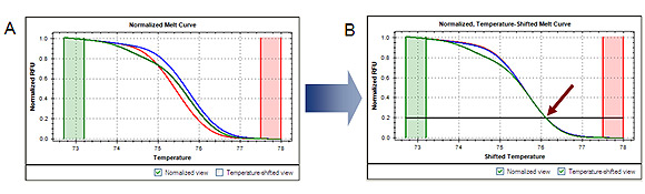 Temperature-shifted PCR product melt curve plot for high resolution melting