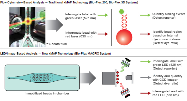 Comparison of a traditional flow cytometry–based system with LED/image-based system