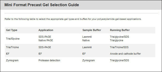 PAGE gel selection guide